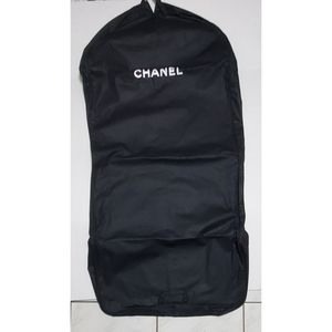 CHANEL Black Canvas Zippered Travel Garment Bag
